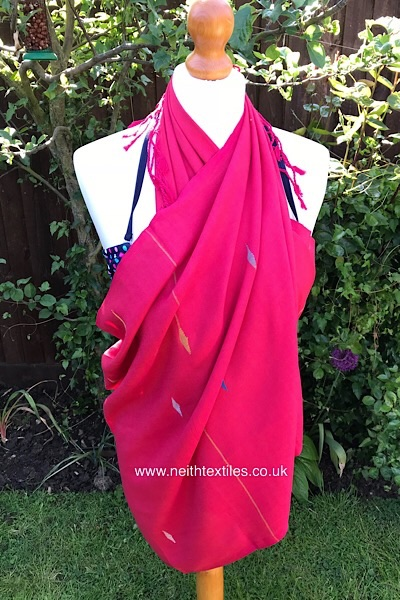 Handwoven hot pink summer beach wrap UK