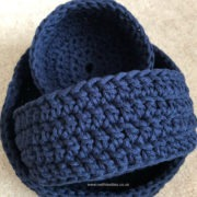 navy crochet baskets